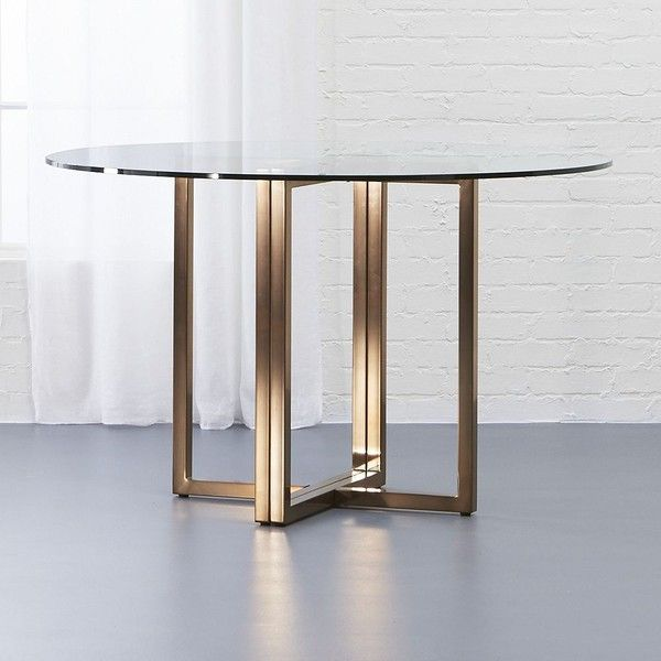 """CB2 Silverado Brass 47"""" Round Dining Table (490 AUD) ❤ liked on Polyvore featuring home, furniture, tables, dining tables, circular dining table, gilt furniture, round brass table, brass furniture and round furniture"""