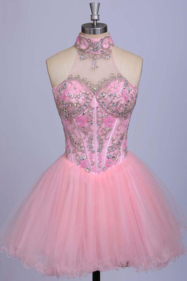 Bg26 Charming Prom Dress,A-Line Homecoming Dresses,Beaded Homecoming Dresses,Pink Homecoming Dresses,Tulle Homecoming Dresses