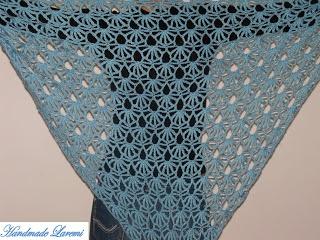 Handmade Laremi: Hand crochet light blue shawl / Hand Crochet Shawl/ Hand crochet Scarf
