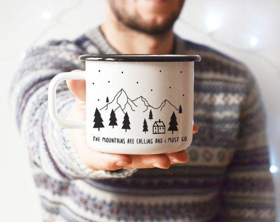 Camping Becher Kaffeebecher Travel Mug Emaille von nokkvalley auf Etsy