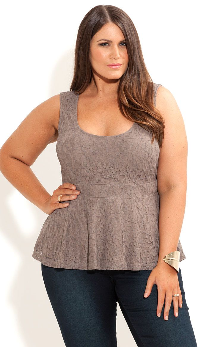 City Chic - HI LO LACE PEPLUM TOP - Women's plus size fashion