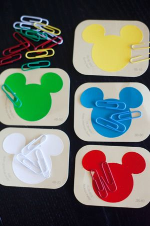Disney paint chips and colored paper clips ... matching colors