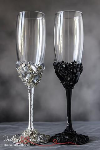 black and silver crystals toasting glasses