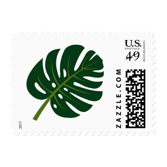 Tropical Monstera palm leaf wedding postage stamps