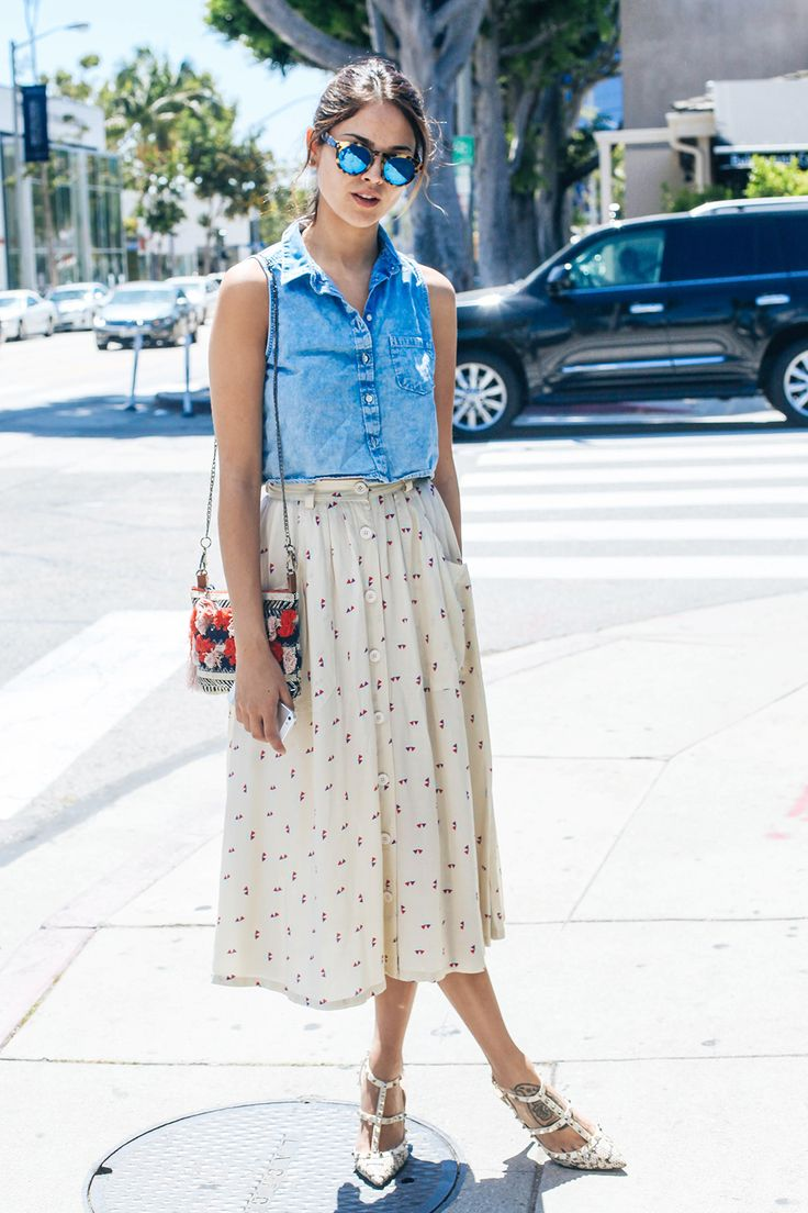 Chic! 8 Perfect Outfits Spotted On Melrose #refinery29  http://www.refinery29.com/melrose-avenue-fashion#slide8  Who: Eiza Gonzalez Wearing: H&M shirt, American Apparel skirt, Valentino heels, vintage purse.