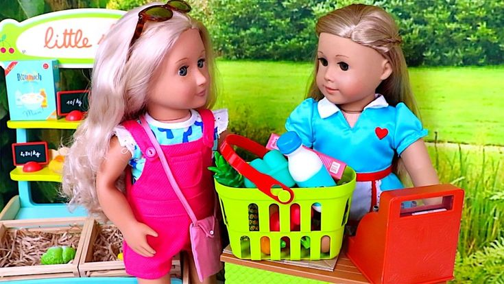 Baby Doll Grocery Store! Play with American Girl Dolls and Grocery Shopping!   Playtoys