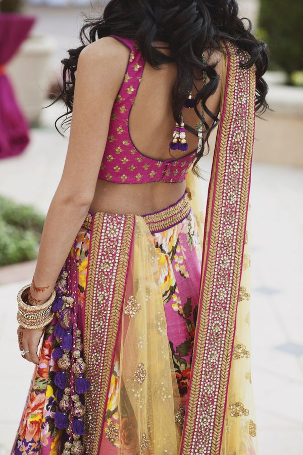 Floral design choli - indian wedding dress idea for a pre-wedding event like a mehndi or a sangeet night. Fresh colors stand out in any season.