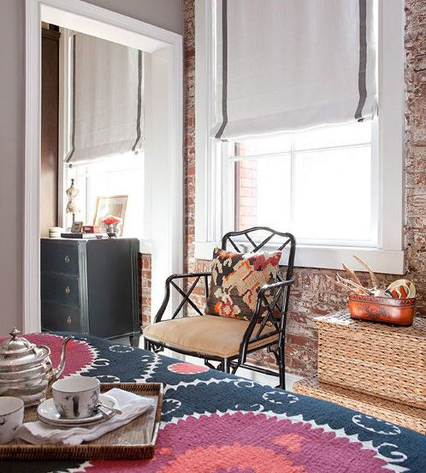 Crisp White Roman Shades With Grey Banding In This Eclectic Room