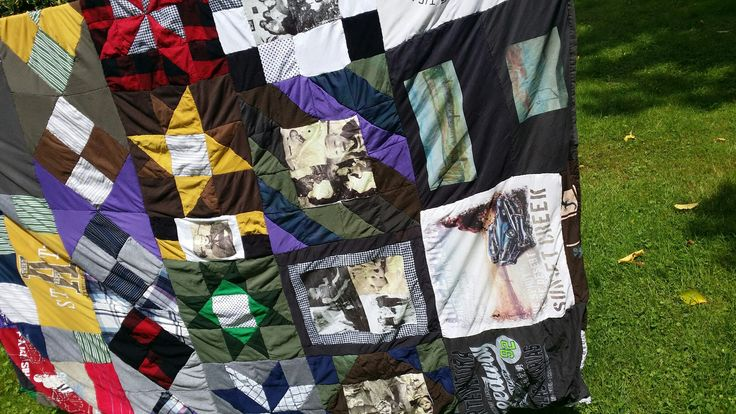 Memory blanket from shirts and photos printed  on shirts