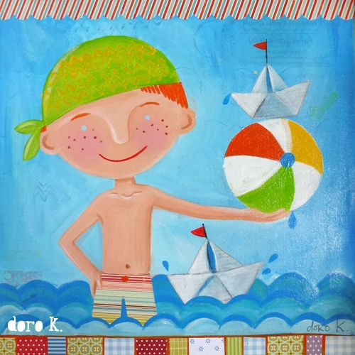 """swimming boy"";  mixed media on canvas"
