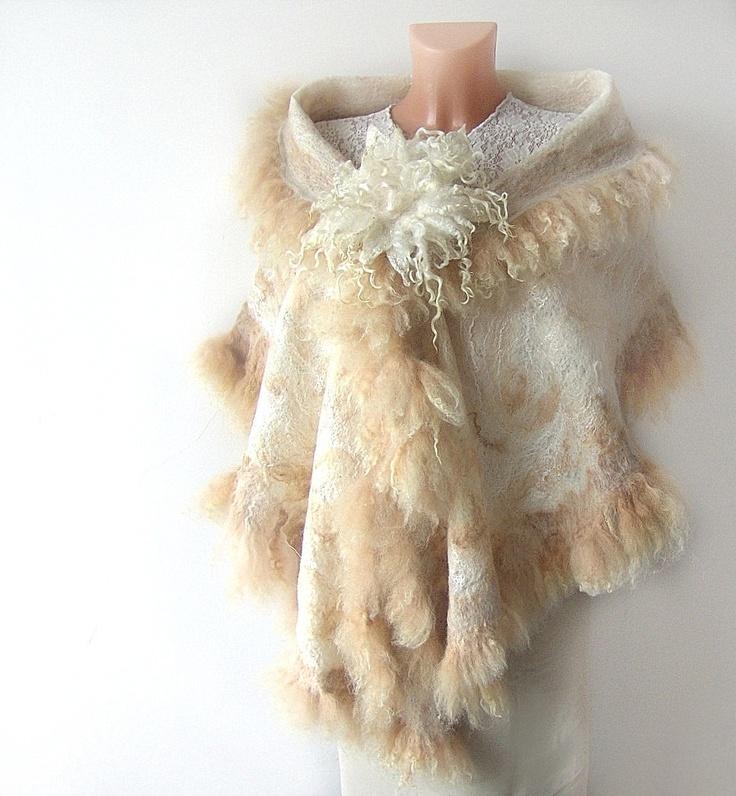 Felted scarf Fur  Wedding   wrap White beige gift brooch cap. $198.00, via Etsy.  #felted #fur #scarf #stole #wrap #alpaca #felting #wool #wedding