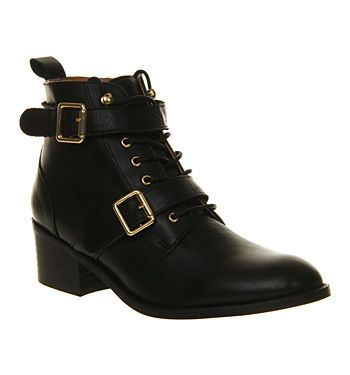 Office Domino Strap Ankle Boot Black Leather - Ankle Boots