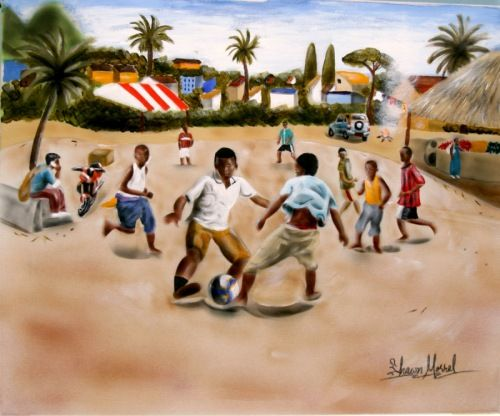 Urban Moment #6  Soccer is a favorite childhood school-yard game that I played while growing up in Canada. I also played in Little League. In Jamaica, where my parents are from, I had the chance to capture a group of boys playing, which is a pastime there. In many ways, it reminded me of when I was their age.