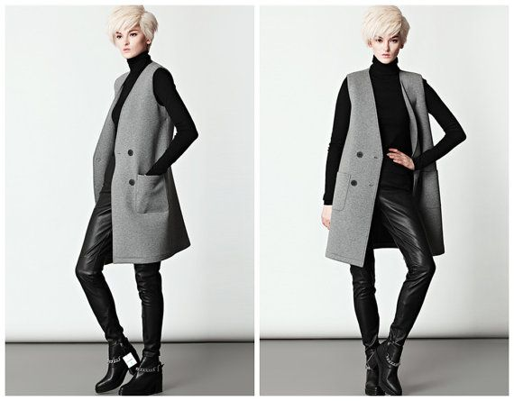 Grey long vest for women with pockets from BWG studios.