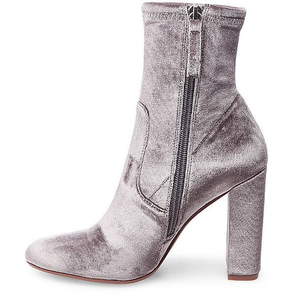 Steve Madden Women's Edit Booties ($100) ❤ liked on Polyvore featuring shoes, boots, ankle booties, ankle boots, grey velvet, slouchy ankle boots, short boots, high heel ankle boots and gray ankle boots