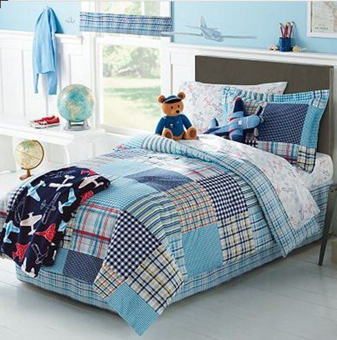 boys twin bed in a bag boys airplane plane plaid patchwork comforter set 6 9315