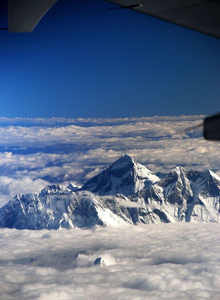 Vista del Monte Everest desde un avión (Asia)