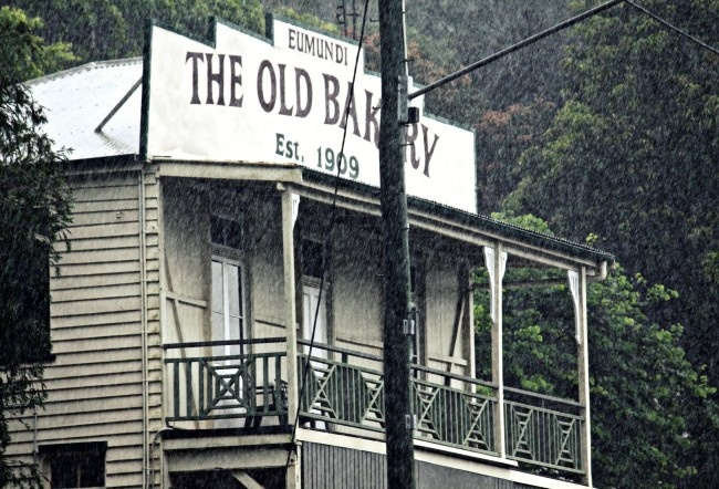 From abeachcottage.com: The old bakery in Eumundi in the rain.