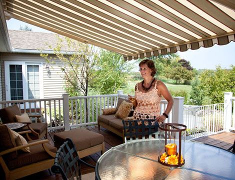 "Patio Awnings Create Outdoor Rooms. Residential awnings and patio awning covers do more than provide shade they create outdoor ""rooms"" filled with welcoming comfort and ambiance that family and friends will love."