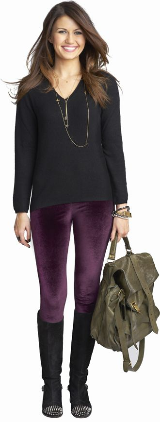 I want to be her!--purple leggings with black