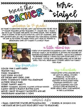 This is an editable meet the teacher newsletter that'll be perfect for your Meet the Teacher Night or Open House! If you're familiar with powerpoint, this will be fairly easy for you to complete. Each slide has the title and the headings already included.