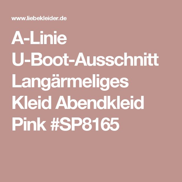 A-Linie U-Boot-Ausschnitt Langärmeliges Kleid Abendkleid Pink #SP8165