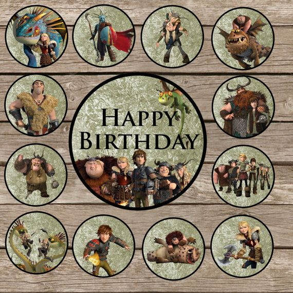 19 How to train your dragon Cupcake Toppers Digital by ThePartyGuy