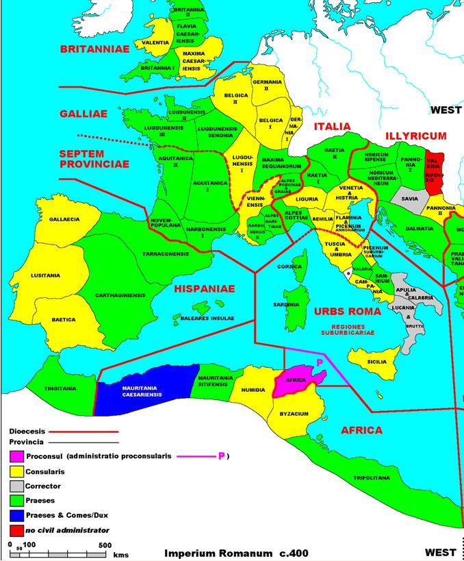The Western Roman Empire as shown in the Notitium Dignitatum 400 AD