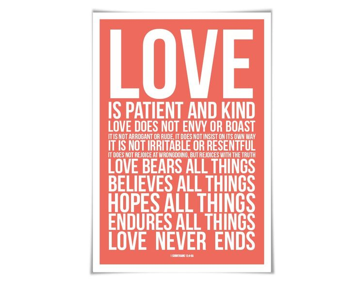 """Love is Patient Love is Kind Art Print. 60 Colours/3 Sizes. 1st Corinthians 13 Scripture Poster Christian Bible Verse. """"Love is Patient, Love is Kind."""" Here's a contemporary take on this well known and beloved verse from Ist Corinthians 13. The biblical quote is displayed with white text over the coloured background of your choice. ** For your colour, you can choose from one of 60 different colours. Please see the second image above to view the colour palette. Your archival quality print…"""