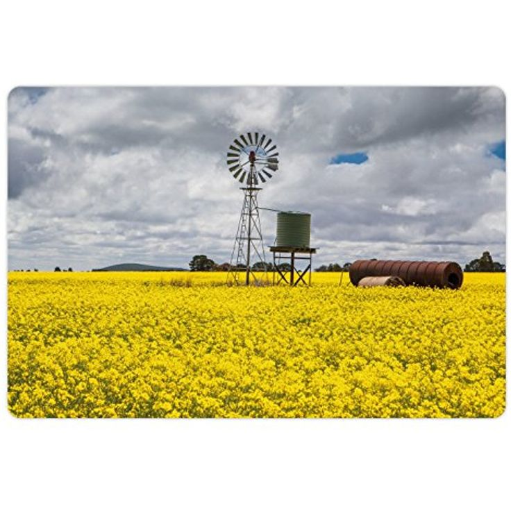 Windmill Pet Mats for Food and Water by Ambesonne, Canola Meadow Stormy Day Victorian Goldfields Agricultural Farmland, Rectangle Non-Slip Rubber Mat for Dogs and Cats, Yellow Grey and White -- Details can be found by clicking on the image. (This is an affiliate link) #DogFeedingWateringSupplies