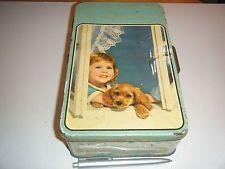 Antica scatola latta  Pane degli Angeli bambino e cane