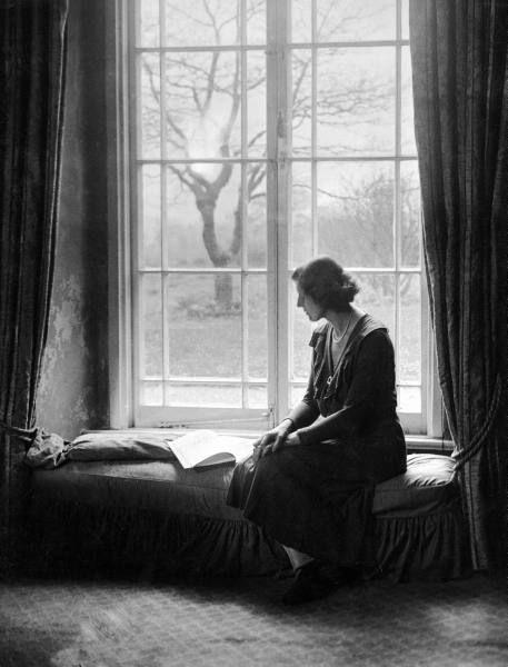 Mrs. Elizabeth M. Dashwood, aka short story author E.M. Delafield, at home. Location: United Kingdom Date taken: 1925 Photographer: E. O. Hoppe