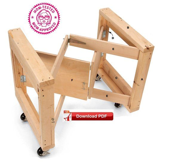 PDF plan Folding Table Base / Folding Craft Table Base Plan / Play Table Base Plan / Craft Table Base Plan / Wood PDF / pdf plan / DIY Plan / pattern