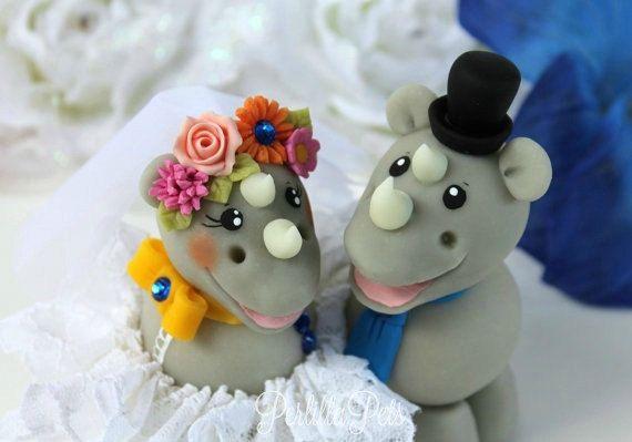 Hochzeit-Nashorn cake Topper niedliche Braut und von PerlillaPets
