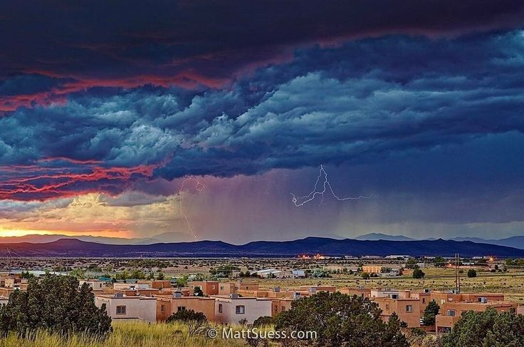 "Thunderstorm Over Santa Fe - New Mexico, Instagram post date: 03-07-2017 - ""Thunderstorm Over Santa Fe"" – Anyone who has spent some time in Santa Fe, New Mexico knows that the light there can be absolutely stunning at times, and this evening was no exception. . A summer thunderstorm was rolling in over the airport at sunset, and there was a break in the clouds at the horizon which brought some great color to this already ominous looking storm. . An easy way"