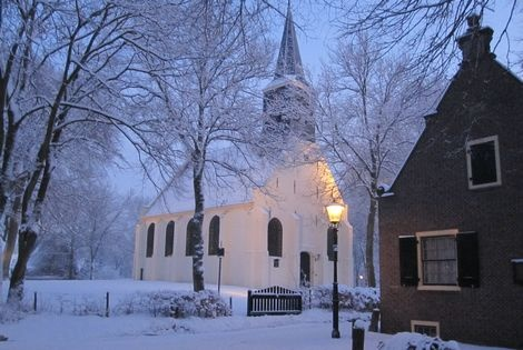 Little white church in Groet, Noord Holland, NL
