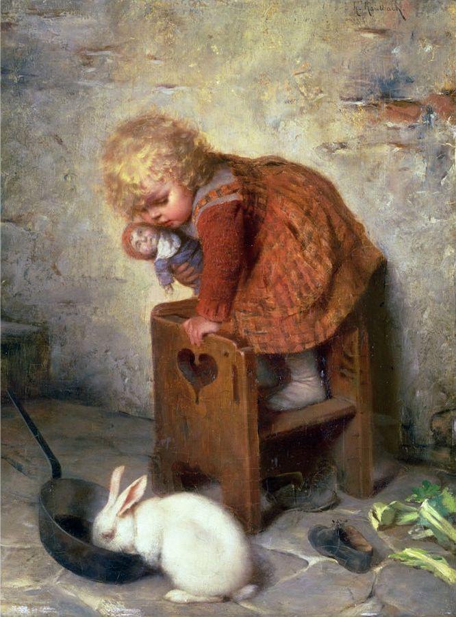 Hermann Kaulbach.Little Girl with a Rabbit