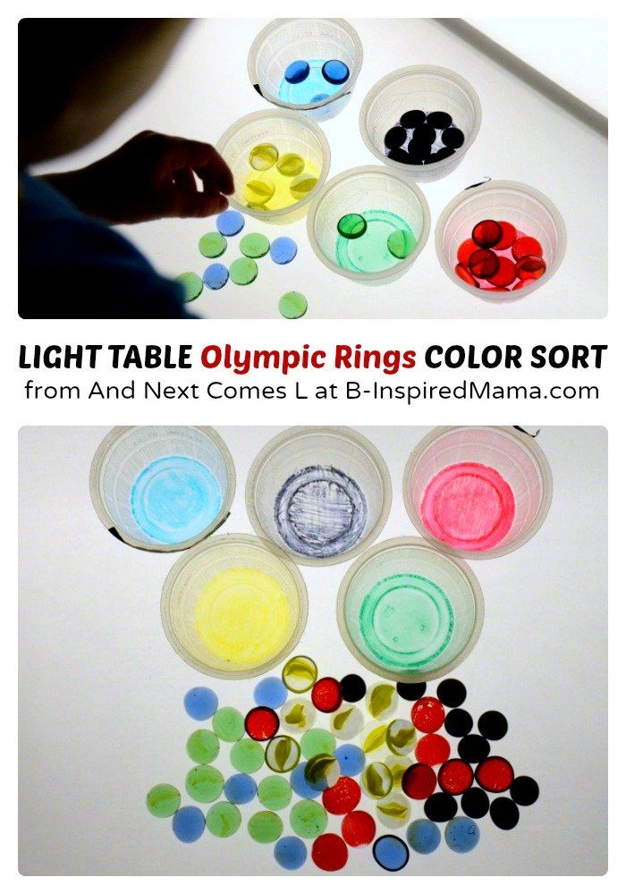 Light Table Olympic Rings Color Sort for Learning Colors - B-Inspired Mama