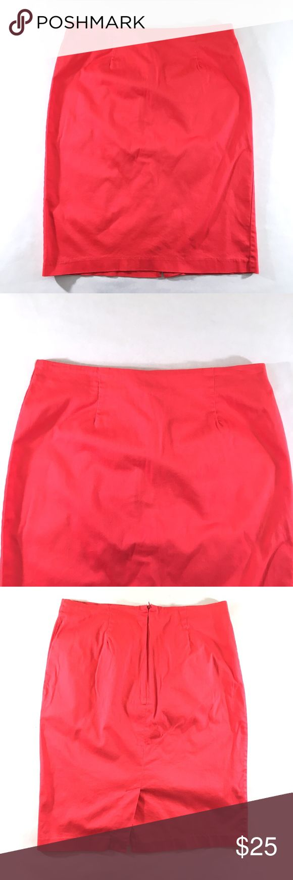 "Sunny Leigh Coral Pencil Skirt (10) 🔹97% Cotton, 3% Spandex 🔹Back zipper w/ hook & eye closure 🔹Waist: 32"" (16"" laid flat) 🔹Hips: 38"" (19"" laid flat) 🔹Length: 22"" 🔹Back slit: 5.75"" Sunny Leigh Skirts Pencil"