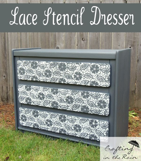 Lace Stenciled Dresser | Crafting in the Rain @royalstencils