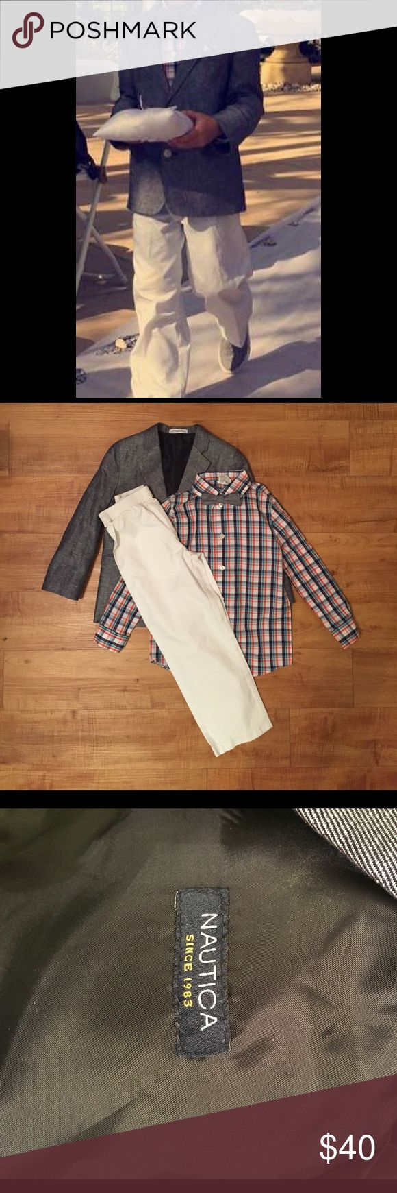Nautica 4-pc Denim Look Duo Suit Set, Little Boys Great piece perfect for any occasion. Worn only one time by my son for a wedding. No stains still looks brand new! Nautica Matching Sets