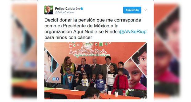 (Video) Felipe Calderón donará su pensión de ex presidente a niños con cáncer - http://www.esnoticiaveracruz.com/video-felipe-calderon-donara-su-pension-de-ex-presidente-a-ninos-con-cancer/