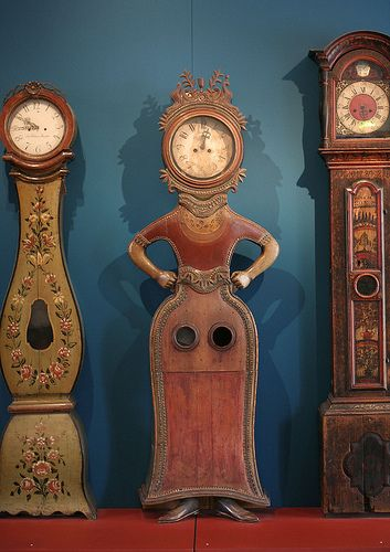 Strict Time by balsamia / Do you know what time it is? - This is from the National Museum in Helsinki. The clocks themselves are Ostrobothnian, from the late 1700s and early 1800s.