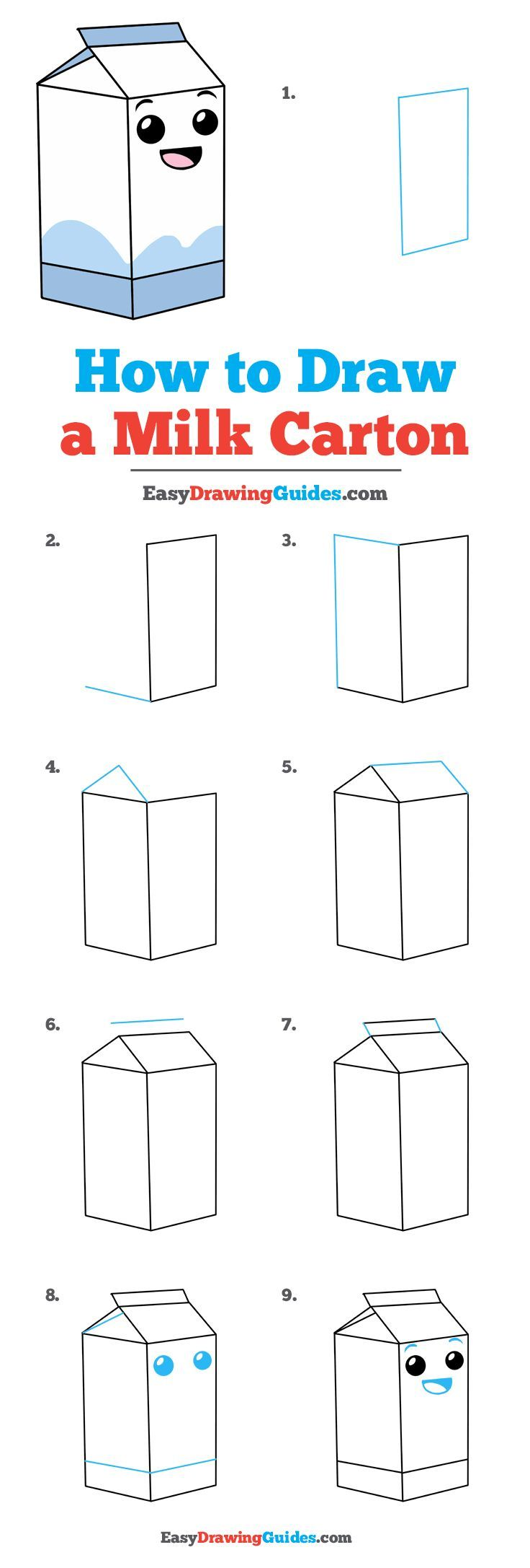 How To Draw A Milk Carton Drawing Tutorial Easy Drawing