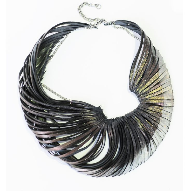 Necklace | Emma Ware. Rubber reclaimed from bicycle inner tubes