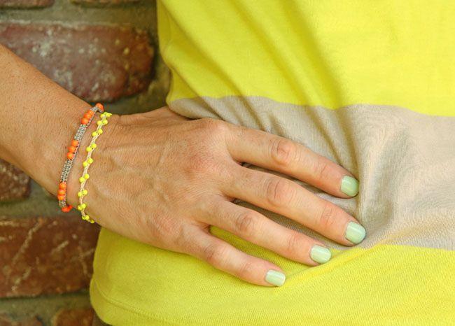 DIY Jewelry: neon beaded bracelets...  https://diypick.com/fashion/diy-jewelry/diy-jewelry-neon-beaded-bracelets/