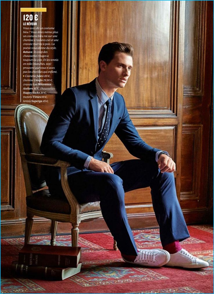 Tom Warren pictured in a Jules suit with a Uniqlo shirt for GQ France.