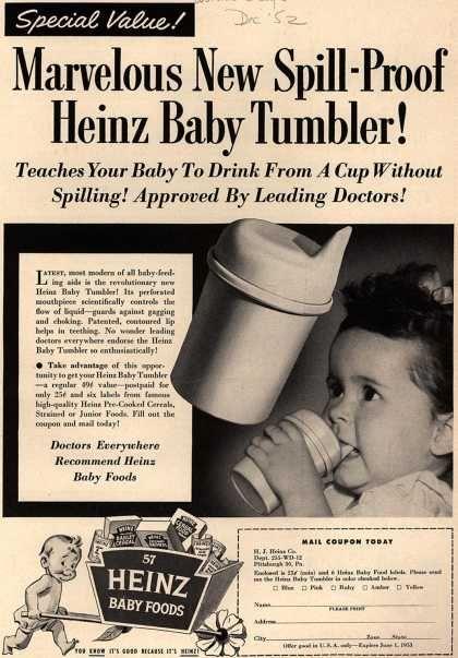 H. J. Heinz Company's Heinz Baby Foods – Marvelous New Spill-Proof Heinz Baby Tumbler (1952)