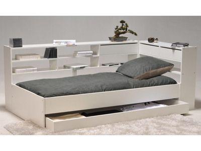 Lit Combiné 90x190cm + étagères + Tiroir + sommier à CORNIMONT Blanc, Sans matelas