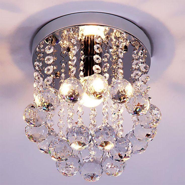 SUN-E Crystal Chandeliers Light Mini Style 1-light Flush Mount K9 Crystal Chandelier Ceiling Lamp For Hallway, Bar, Kitchen, Dining Room, Kids Room (8 inch)